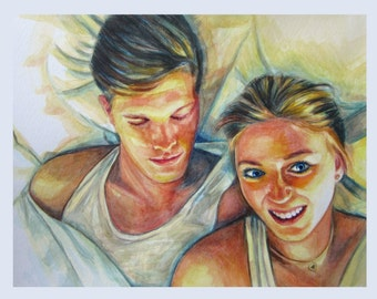 Custom Watercolor Portrait, Girlfriend and Boyfriend, Lovers Portrait, Valentine's Gift, Anniversary Gift, Free Shipping
