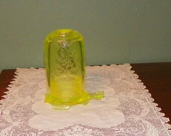 Vintage Fenton Fairy Lamp Vaseline Opalescent Light Collectible