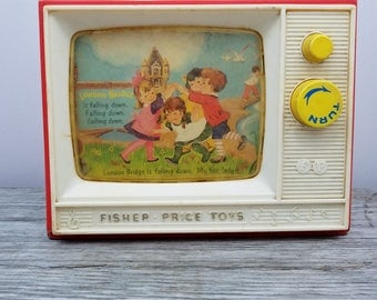 Giant Screen Music Box Two Tune TV Vintage 1966 Fisher Price Plays Row Your Boat and London Bridge