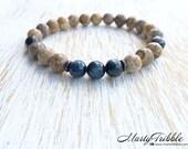Kayanite Bracelet, Jasper Bracelet, Gemstone Bracelet, Earthy Bracelet, Mens Bracelet, Unisex Bracelet, Minimalist Jewelry, Healing Crystals