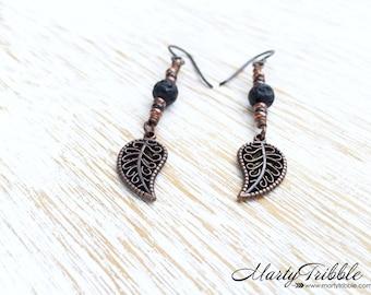 Leaf Earrings, Henna Earrings, Lava Stone Earrings, Copper Earrings, Hypoallergenic Earrings, Gemstone Earrings, Dangle Earrings, Earrings