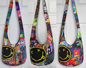 MADE TO ORDER Hobo Bag Boho Bag Crossbody Bag Sling Bag Hippie Purse Nirvana Patchwork Crazy Quilt Bohemian Nirvana Smiley Hobo Purse