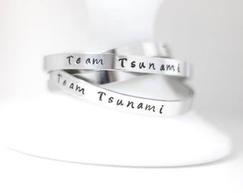 Team Pride Bracelet , Stamped Cuff Bracelet,  Custom Team Bracelet, Hand stamped jewelry , stackable bracelet , Team spirit , team support