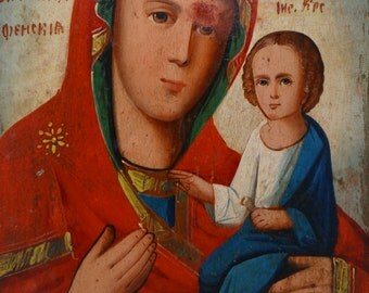 Antique Hand Painted Russian Mother of God Orthodox Icon, Madonna with Christ Child, Saint Mary and Jesus