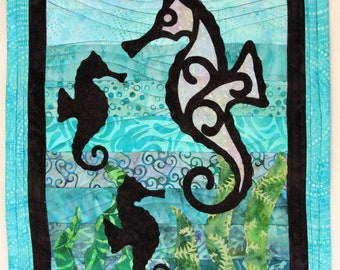 Seahorse with Young Quilted Wall Hanging / Art Quilt, Handmade by PingWynny
