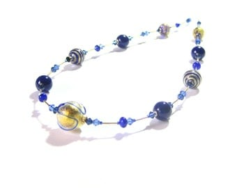 Murano Glass Cobalt Blue Long Necklace, Gold Filled Necklace, Italian Jewelry, Blue Gold Lampwork Glass Necklace, 24 Inch Necklace, Gifts