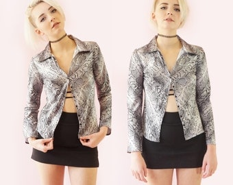 Satin Snakeskin 90s Fitted Club Top, Button Down 90s Crop Top, 90s Grunge Goth, Women's Size Small