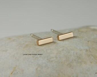 Gold Bar Earrings Handmade Minimalist Earrings 14K Gold Studs Simple Earrings Gold Jewelry