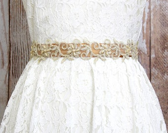 Light Gold Beaded Lace on Old Gold Ribbon, Gold Ribbon Sash Belt, Bridal Gold Belt, Brdiesmaid Gold Sash, Flower Girl Gold Sash