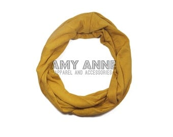 CLOSEOUT SALE Kids Solid Mustard Yellow Toddler Girls Kids Jersey Knit Infinity Scarf Scarves