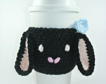 NEW! Black Bunny Coffee Cozy- Cup Sleeve-Crochet Coffee Cozy-Animal Coffee Cozy-Christmas Gift-White Elephant Gift-Co worker Gift