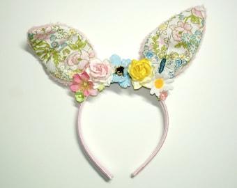 Flower Bunny Headband, Easter, Easter Headband,Girl Headband, Women Headband,Bunny Ears,Lolita,Fairy Kei,Harajuku,Mori Kei,Flower Headband