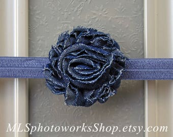Dark Wash Denim Rosette Headband for Babies, Toddlers and Girls - Available on Hair Clip or Headband - Blue Jeans Hair Bows