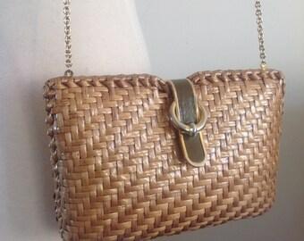 Vintage Luxury Italian woven clutch bag RODO gold chain