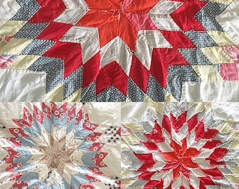 Vintage Quilt Top Star Pattern Cutter Quilt Full
