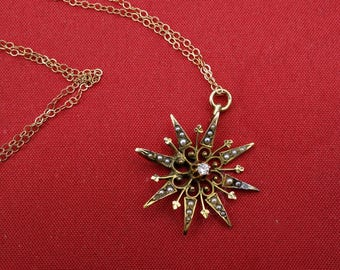 Victorian Starburst Pendant, 14k Gold, Diamond, Seed Pearl Pendant, Antique Gold Pendant, Diamond, Pearl Pendant