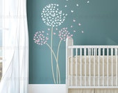 Butterflies Dandelion Wall Decal   Butterfly Custom Baby Nursery, Children's Rooms, Living Space Interior Designs   Easy Application    034