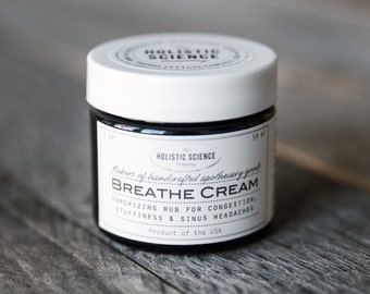 Breathe Cream - moisturizing herbal vapor rub for colds/flu, allergies, sinus infections, headaches and stuffiness 2oz