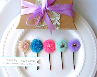 "PICK 5 Shabby Flower Hair Accessories for Girls Gift, Baby Snap Clips Girls Hair Pin, Mini Bobby, Cute Lace Fabric tiny Barrette 1"" Children"