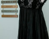 Vintage Black Lace and Tulle Sleep Gown; Full Length Nightie; Maxi Length Slip