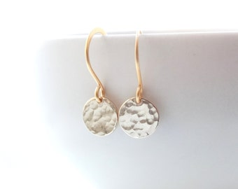 Tiny Dot gold earrings Gold hammered Coin Earrings Drop Earrings Delicate Earrings