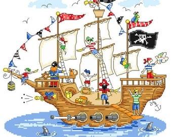 Jolly Pirate Ship Cross Stitch Pattern