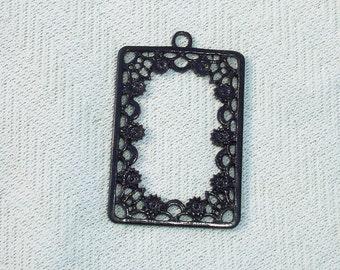 Black Ornate Frame Pendant - Jewelry Making Findings