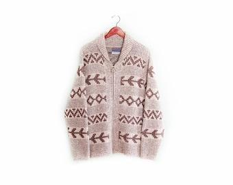 vintage cardigan / Pendleton / cowichan / 1970s brown Pendleton cowichan zip up cardigan Medium