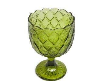 Vintage Green Glass Goblet Diamond Pattern Daisy Base Compote Footed Bowl Emerald Candy Dish Stemmed Barware Forest Green Planter