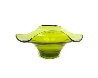 Vintage Green Art Glass Bowl Folded Sides Crimped Corner Compote Pedestal Olive Dish Blown Glass Avocado Candy Dish