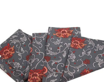 Vintage Gray Scarf Red Floral Design Headwear Fall Neckwear Shawl Wrap Flower Print Pattern