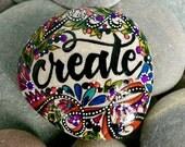 create / painted rocks /painted stones / paperweights / rock art / gifts for artists / boho art / desktop art / words on stone / rocks