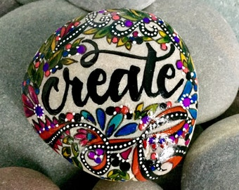 create / painted rocks /painted stones / paperweights / rock art / gifts for artists / boho art / desktop art / words on stone / rocks
