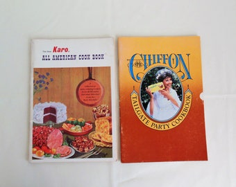 Two Cook Books Karo All American and Chiffon Tailgate Party Retro Recipe Booklets 1980s