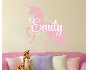 Unicorn Wall Decal Girls Nursery Decor Girls Bedroom Magical Pastel Unicorn  Vinyl Wall Decal With Name Part 77