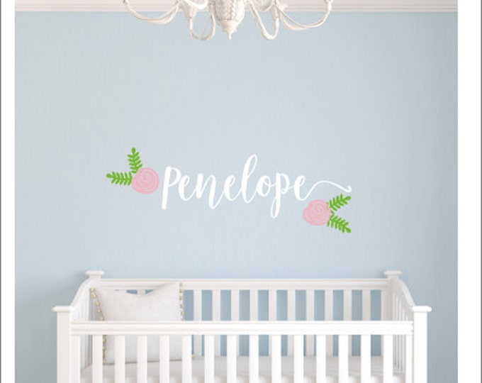 Girls Name Decal Personalized Floral Decal Set for Nursery Girls Bedroom Wall Decor Cottage Rose Rustic Wall Decal Set with Flowers Vinyl