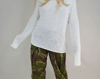 90s Grunge Beachy Knit See Through Extra Long Sleeves Sweater Jumper M