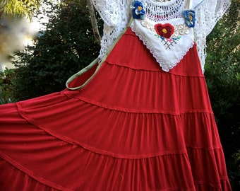 Izzy Roo  Rose Red Jumper/Tunic Rose Red Scandinavian Flavor Boho Festive Wear One Size Fits Most
