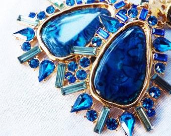 Huge Vintage Blue Rhinestone and Shell Earrings