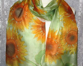 Suns - hand painted silk scarf