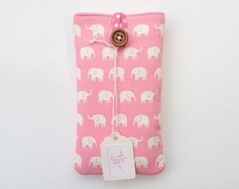 Padded Phone Case Pouch for ANY Smartphone Cell Phone iPhone 7 6 6s plus 5 5s 5c 4 SE Galaxy S6 S7 Edge Xperia X Z5 Elephants Fabric Pink