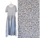 Vintage 90s Floral Dress Eddie Bauer Dress With Pockets Spring Dress Long Maxi Dress Floral Maxi Dress Long Blue Dress Long Maxi Dress 1990s