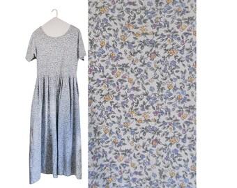 Vintage 90s Floral Dress Eddie Bauer Dress With Pockets Spring Dress Long Maxi Dress Floral Maxi Dress Long Blue Dress Long Maxi Dress 1990s