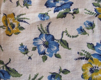 vintage FULL feed sack fabric -- yellow, blue and navy floral print