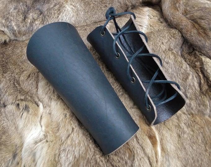 Renaissance Leather Bracers - Lace Up Arm Guards, Viking Medieval Set Black - Classic