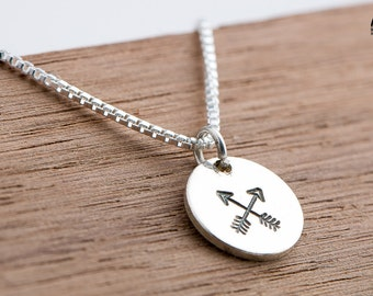Crossed Arrows Necklace - Arrow Necklace in Sterling Silver - Friendship necklace, crossing paths - Gift for her - Bohemian Boho jewelry