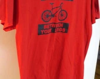 T SHIRT .. Fun Bicycle Red t Shirt 100% Cotton Lg