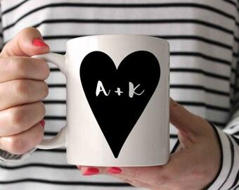 Valentines Mug, Boyfriend Gift, Husband Gift, Valentines Gift, Valentines Mugs, Gift for Her, Custom Mug, Personalized Gift, Heart Monogram