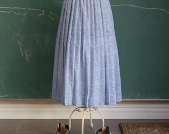 polka dot knife pleated midi maxi long skirt / L large / blue white elastic waist 80s 90s spring summer classic cute