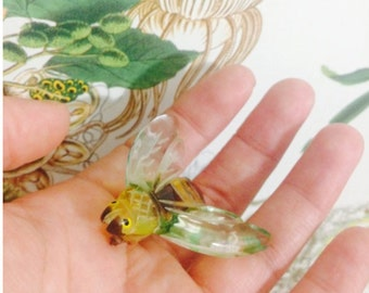 1930's 1940's Lucite Bug Brooch. // Honey Bee, Yellow Jacket. Insect Jewelry.